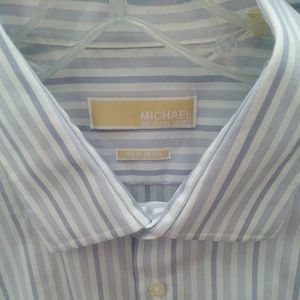 Michael Kors blue and white button-down top